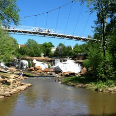 Liberty Bridge and Falls Park on the Reedy River in downtown Greenville, S.C