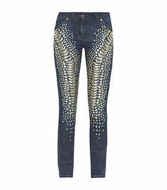 Roberto Cavalli Embellished Snakeskin Print Jeans | Harrods
