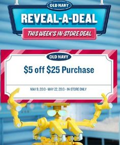 Old Navy Coupon- off Old Navy Store Purchase - Retail Store Coupons and Deals - Retail Coupons - Old Navy Coupon and deals Store Coupons, Grocery Coupons, Old Navy Coupon, Printable Coupons, Printables, Free Makeup Samples, It's Your Birthday, Brand Names, Saving Money