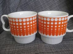 Vintage Orange and White Coffee cups | Shop home| Kaboodle