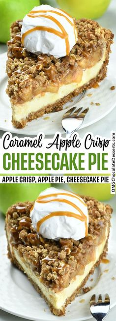 Apple Crisp Cheesecake Pie is a delicious fall dessert. This decadent pie is a combo of a graham cracker crust, creamy cheesecake and sweet apple crisp. #apple #crisp #pie #cheesecake