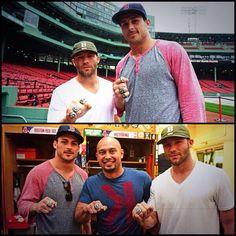 Danny Amendola and Julian Edelman of the Patriots visit Shane Victorino of the Red Sox!