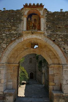 Entrance to the church of the Mitropolis at Mistra, Greece (Mystras) Byzantine