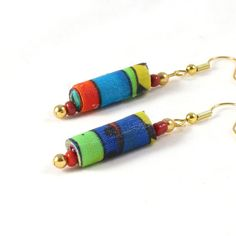 Fiber Earrings Textile Earrings Gift for Her Fabric Earrings Drop Earrings Dangle Earrings Turquoise Yellow Orange Green Multicolored OOAK