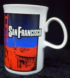 DUNOON San Francisco Ceramic Mug Macy Co. 1987 Golden Gate Bridge Graphics EUC #Dunoon