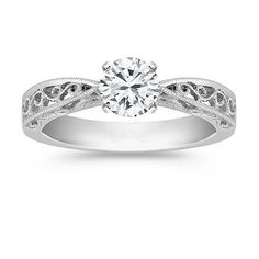 Vintage Solitaire 14k White Gold Engagement Ring