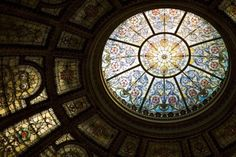 Stained glass skylight by Louis Comfort Tiffany at the Chicago Cultural Center, USA. Photo by Thomas Marlow.