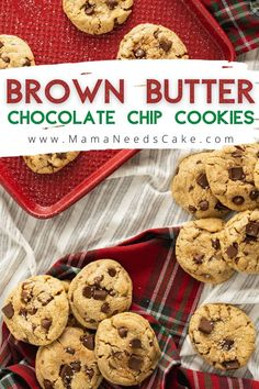 Brown Butter Chocolate Chip Cookies have a delicious nutty flavor and are thick, chewy, and are packed with chocolate chips. #cookies #chocolatechipcookies #chocolatechip #brownbutter #easycookies… More