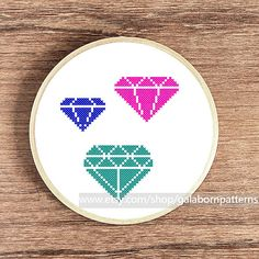 Tittle: Diamond collection 2    This PDF counted cross stitch pattern available for instant download.    Skill level: Beginner.    Floss: DMC    Fabric: 14-count    Hoop: 6 inches    SIZE:  Design Area: 53h x 52w stitches.  Area of embroidered image 3,8 x 3,7 inches    This PDF pattern include:  • image of finished design  • stitch diagram (in color) with DMC stranded cotton  • material list  • beginners instructions    All geometric patterns here…