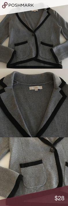 NWOT - Loft blazer New without tags; gray/black Loft cotton blazer; one button closure; 2 front pockets. LOFT Tops