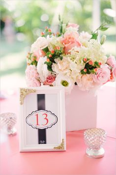 framed table number   pink white and green centerpiece   wedding florals   #weddingchicks