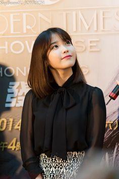 140322 Modern Times in HK - Tuen Men Press Con Second Avenue black chiffon blouse won) Korean Girl, Asian Girl, Iu Fashion, Korean Celebrities, Korean Actresses, Pretty Face, Girl Crushes, Kpop Girls, Role Models