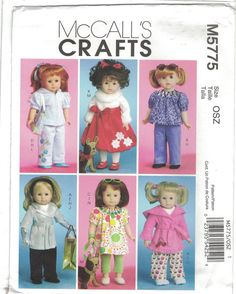 Free Copy McCalls 5775 Sewing Pattern - for American Girl doll clothes. Sewing Doll Clothes, Sewing Dolls, Girl Doll Clothes, Doll Clothes Patterns, Barbie Clothes, Clothing Patterns, Girl Dolls, Doll Patterns, American Girl Crafts