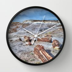 Petrified forest Wall Clock by Claude Gariepy - $30.00