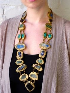 Love the colors in the bold stones of this lovely long necklace.