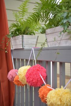 For a party or just because, garlands make a space feel instantly festive. This one is made using whole skeins of yarn in whatever colors make you happy! --> http://www.hgtv.com/design/make-and-celebrate/handmade/how-to-make-a-giant-pom-pom-garland?soc=shpinparty