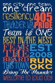 """OKC THUNDER Inspired Typography Art Print 11"""" by 14"""". $25.00, via Etsy."""