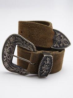 Black Rock Western Belt   Luxe suede belt featuring a western inspired metal belt buckle featuring ornate detailing.