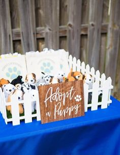 """Birthday Party Decorations 76059 Favor Sign for Dog Themed or Puppy Theme Birthday Party """"Adopt a Puppy"""" for Birthday Party Decor Favor Table for Kids (Item - Dog First Birthday, Puppy Birthday Parties, Puppy Party, Girl Birthday Party Themes, Birthday Ideas, Birthday Table, 11th Birthday, Birthday Gifts, Party Animals"""