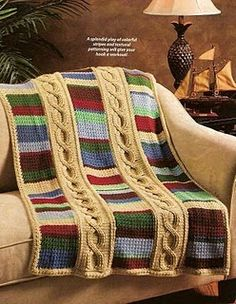 Dame Etta Vett Designs Cables  Stripes Afghan  (but do the stripes in Doctor Who Scarf colors)