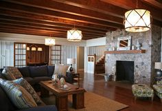 a lakehouse renovation traditional living room