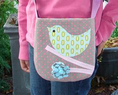 Girls Sweet Spotty Pink Bird Pocket Purse - Toddler to Youth - Holiday Gift
