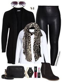 Excelente A plus size faux leather leggings outfit idea featuring a black cardigan leopard. A plus size faux leather leggings outfit. Legging Outfits, Leather Leggings Outfit, Faux Leather Leggings, Tribal Leggings, Printed Leggings, Leggings Store, Mode Outfits, Casual Outfits, Fashion Outfits