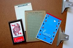 "Charismatic Canasta Score Pads, Stenographer's Note Book and ""Career Girl"" Note Pad. $8.00, via Etsy."