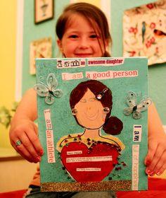 """I am"" multimedia art... Inspiring Idea!  I can't wait to create an art lesson based on this theme/idea :)"