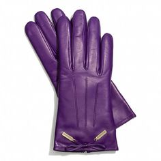Brighten your winter ensemble with these purple leather gloves by Coach. These elegant gloves are cashmere lined for extra comfort and the gold hardware adds a graceful touch at the wrists. Fuchsia, Purple Haze, Shades Of Purple, Purple Accessories, Purple Jewelry, Accessories Online, Leather Gloves, Leather Bow, Purple