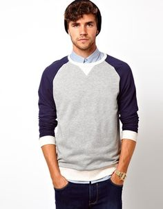 ASOS Sweatshirt With Contrast Raglan Sleeves