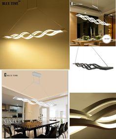 [Visit to Buy] 120CM White/Black modern pendant lights for dinning room livingroom kitchen dimmable led Hanging Lamp lamparas Wave shape #Advertisement