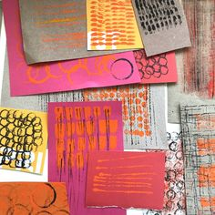 experiment with mark making! Paper Collage Art, Paper Art, Paper Crafts, Let's Make Art, Gelli Printing, Art Lessons Elementary, Textiles, Ink Illustrations, Art Activities