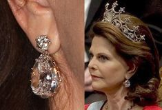 Queen Silvia of Sweden wearing the Nine Prong tiara and the diamond earrings from the Brazilian parure.
