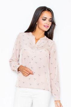 Różowa koszula damska z oryginalnym motywem
