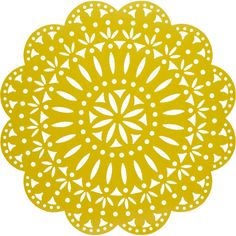 Kim Seybert Laser-Cut Fete Placemat ($21) found on Polyvore featuring home, kitchen & dining, table linens, yellow, circular placemats, round table mats, round table linens, round placemats and yellow placemats