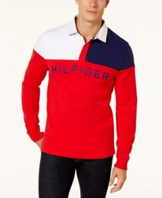 Tommy Hilfiger Men's Harbor Rugby Polo Shirt - Red XXL