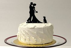 WITH DOG Wedding Cake Topper Silhouette by CreativeButterflyXOX  Because, if I'm going to have a cake, obviously Whiskey needs to be featured on it too.