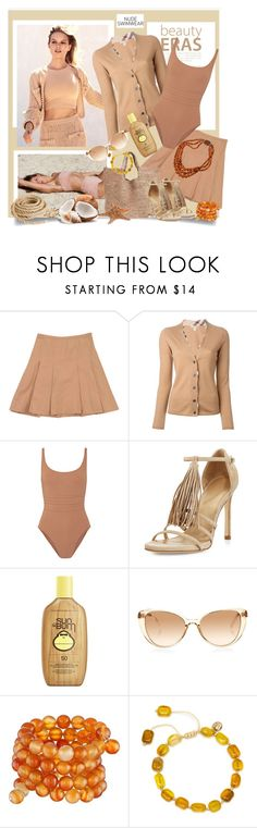 """Nude swimsuit"" by danewhite ❤ liked on Polyvore featuring Chanel, Moschino, Burberry, Eres, Calypso St. Barth, Stuart Weitzman, Sun Bum, Linda Farrow, Kenneth Jay Lane and Lola Rose"