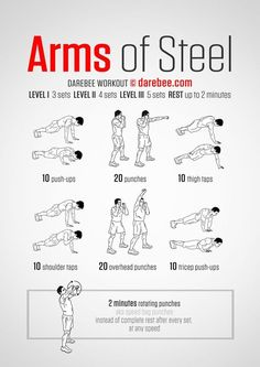 Neila Rey originally shared: Arms of Steel Workout What it works: Triceps deltoids upper back chest obliques biceps lower back core abs cardiovascular system aerobic performance Max). Fitness Workouts, Gym Workout Tips, Toning Workouts, At Home Workouts, Fitness Tips, Health Fitness, Arm Workout No Equipment, Bodyweight Arm Workout, Parkour Workout