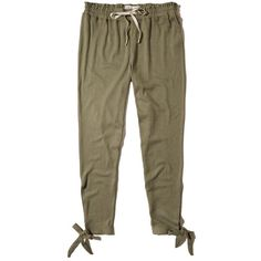 Hollister Side-Tie Joggers ($18) ❤ liked on Polyvore featuring olive