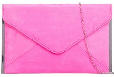 04996a09688f A Pink Clutch Bag Faux Suede Evening Bag Ladies Neon Hot Pink Silver Tone  Envelope
