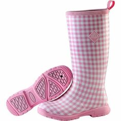 Muck Boot Women's Pink Gingham Tall Insulated Waterproof Boots