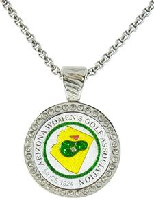 "AWGA ""Since 1924"" Glizy Ball Marker with Swarovski Crystal Magnetic Necklace.   Wear your ball maker as a fashion jewelry piece. Easy to remove and use to mark your spot on the golf course. Arizona Women's Golf Association."