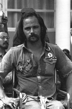 Portrait of Vietnam War veteran and anti-war activist Ron Kovic in Miami Beach for a demonstration during the 1972 GOP Convention.