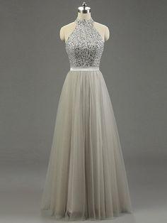High Neck Gray Tulle Floor-length Beading Fashion Prom Dresses - dressesofgirl.com