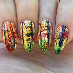 Fall foliage freehand nail art.  Autumn nails
