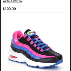 Air Max '95 Nike Black pink blue with white sole barely worn true to size Nike Shoes Sneakers