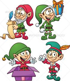 Christmas Elves by memoangeles Cartoon Christmas elves. Vector clip art illustration with simple gradients. All in a single layer. Christmas Yard Art, Christmas Drawing, Christmas Images, Christmas Design, Christmas Elf, Christmas Projects, Vintage Christmas, Elf Characters, Christmas Characters