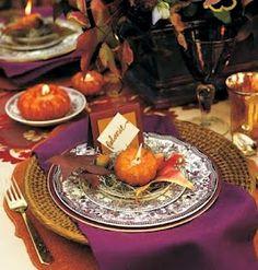 Thanksgiving table.... like the splash of purple